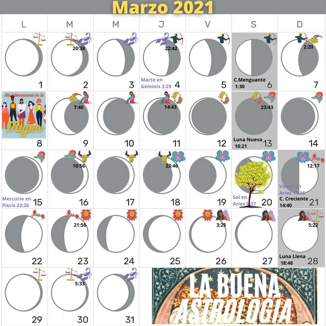 Calendario lunar MARZO 2021