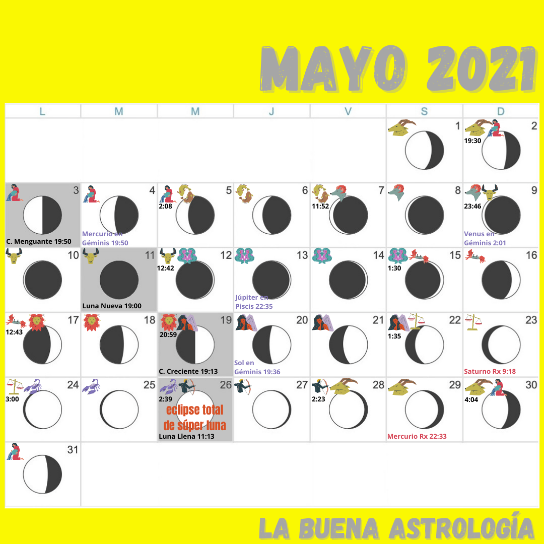Calendario lunar MAYO 2021