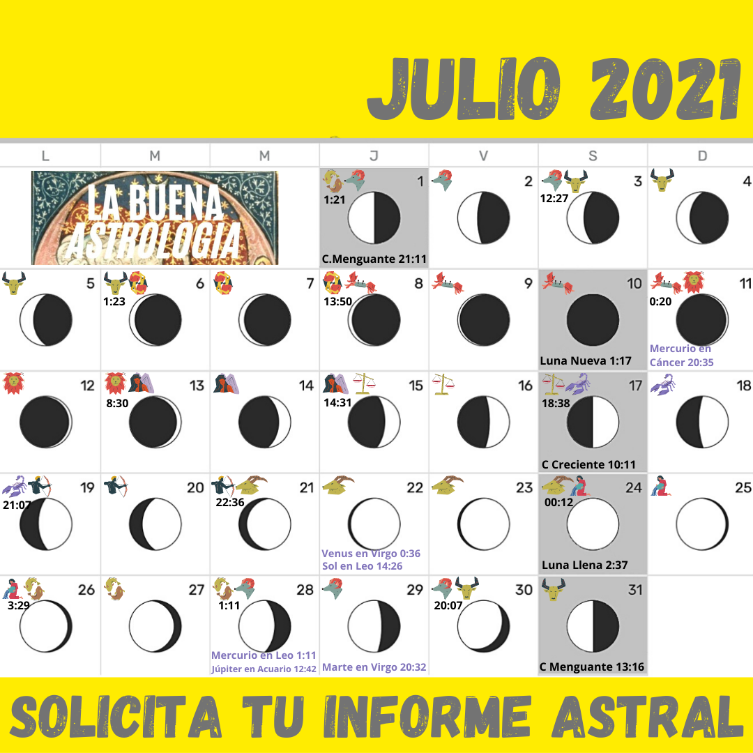 Calendario lunar JULIO 2021