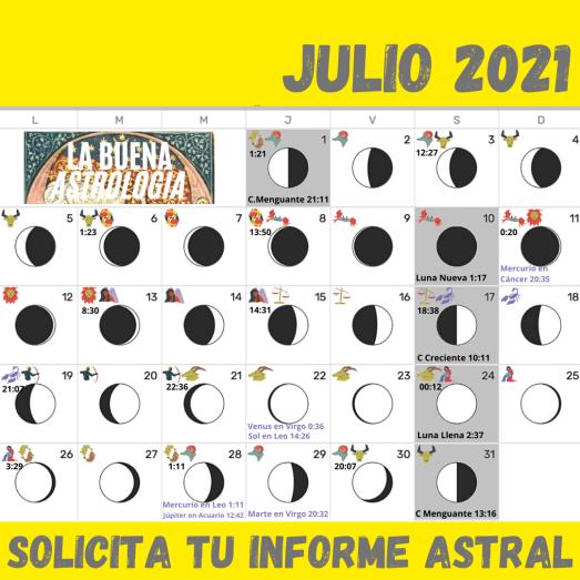 Calendario Julio 2021